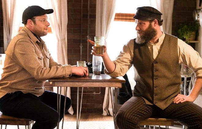 "Seth Rogen stars as Ben Greenbaum (left) and pickled immigrant Herschel Greenbaum in ""An American Pickle."""