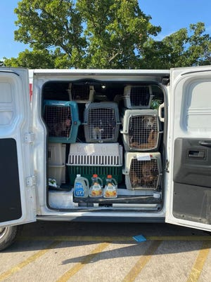 37 dogs were picked up Thursday morning at the Ardmore Animal Shelter to be sent to empty shelters in Iowa and Illinois.