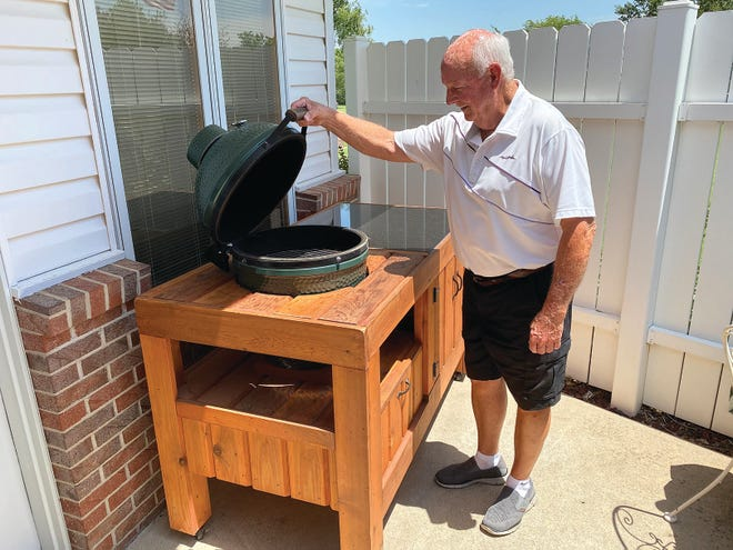 Pratt Community College former trustee and current supporter Darrell Shumway enjoys working with wood, using skills he likely learned from his father. He continues to make and donate interesting and usefull wood items to the PCC annual scholarship auction, like this barbeque table.