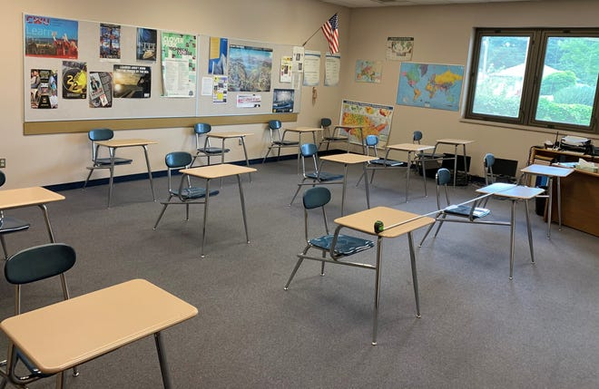 A classroom arrangement at Bremerton High School shows how many students could fit in the class with 6-foot social distancing. School districts in Washington state are drafting plans to re-open with some in-person instruction in the fall of 2020, following state guidelines to prevent the spread of COVID-19.