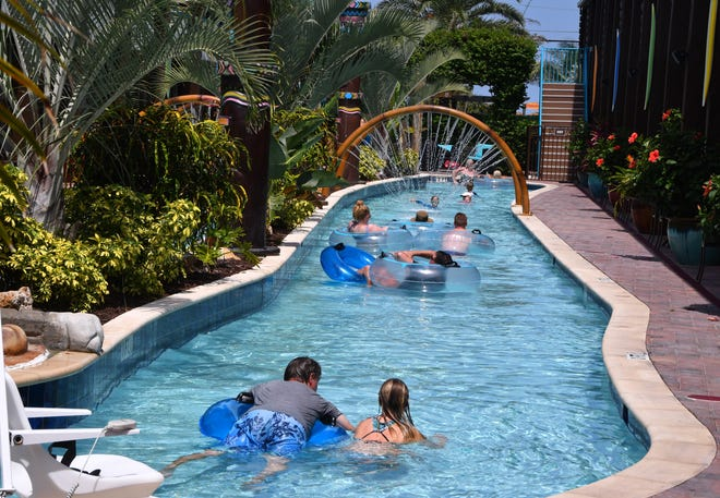 Tourists float along the Wakulla Falls water park Thursday afternoon at Westgate Cocoa Beach Resort.