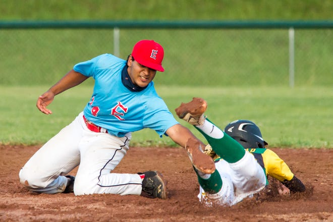 Essex's Sathvik Kanuparthi tags out S.D. Ireland's Tyler Skaflestad, who was attempting to steal second base. S.D. Ireland won 10-6 over Essex in the debut of the Vermont Summer Baseball League on Wednesday in Hinesburg.