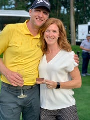 Ryan Brehm and his wife, Chelsey, at the PGA Tour card ceremony in 2019 at Pumpkin Ridge in Oregon.