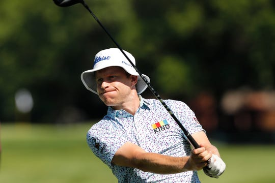 Peter Malnati hits from the second tee during the first round of the Rocket Mortgage Classic golf tournament, Thursday, July 2, 2020, at the Detroit Golf Club in Detroit.