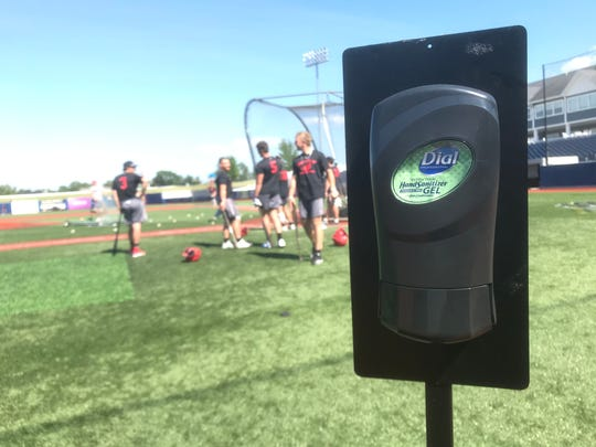Hand sanitizer is readily available for baseball players and managers at Turtle Creek Stadium on Wednesday, July 1, 2020.
