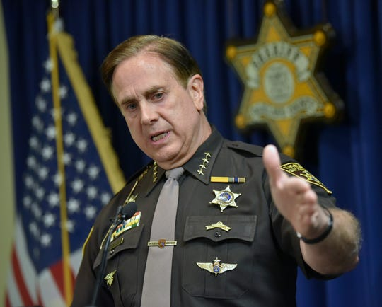 Oakland County Sheriff Michael Bouchard holds a press conference Thursday afternoon to confirm felonious assault charges have been filed against Eric and Jillian Wuestenberg, both of Clarkston.