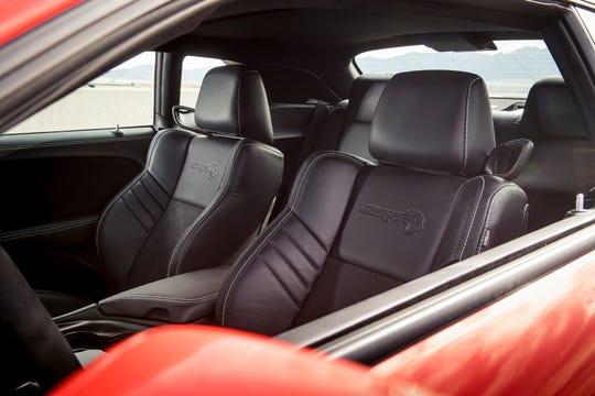 2020 Dodge Challenger SRT Super Stock: SRT Hellcat logo is embossed onto seat backs.