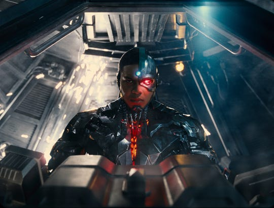 "Ray Fisher as Cyborg in a scene from ""Justice League."""