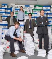 "John Krasinski, from left, Rainn Wilson, Jenna Fischer, B.J. Novak and Steve Carell in NBC's ""The Office."" An episode of ""The Office"" has been edited to remove a scene featuring a character in blackface."