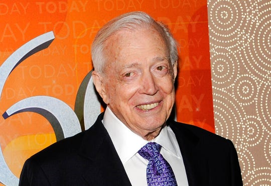 """This Jan. 12, 2012 file photo shows Hugh Downs at the """"Today"""" show 60th anniversary celebration in New York. Downs, a genial and near-constant presence on television from the 1950s through the 1990s, has died."""