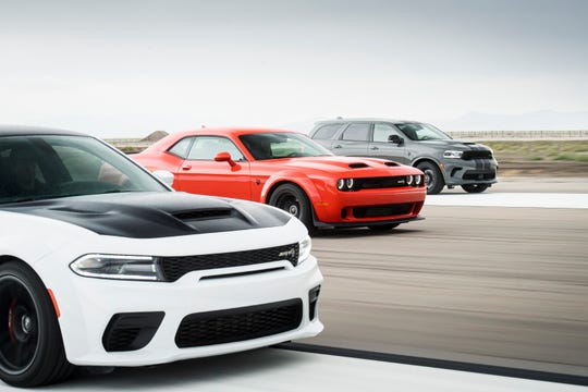 Dodge//SRT Performance Lineup: 2021 Charger SRT Hellcat Redeye, 2020 Challenger SRT Super Stock, 2021 Durango SRT Hellcat (left to right)
