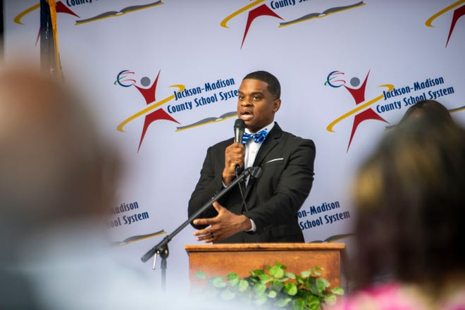 JMCSS Superintendent Dr. Marlon King speaks to the community of Jackson on his first official day  during the welcoming event at the JMCSS Central Office in Jackson Tenn., Wednesday, July 1, 2020.