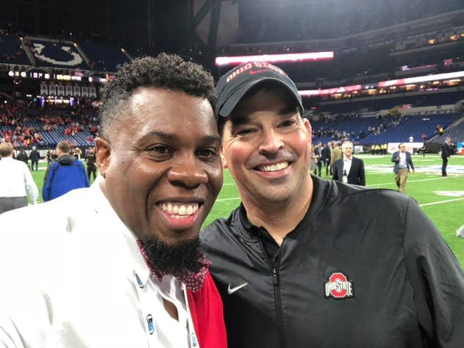 Madison grad and former Ohio State football player Obie Stillwell, now a sports media personality in Columbus, with Buckeyes head coach Ryan Day