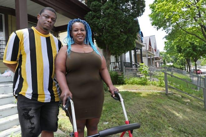 Tari Davis, left, and LaTeasha Russ of Milwaukee were evicted from their home.