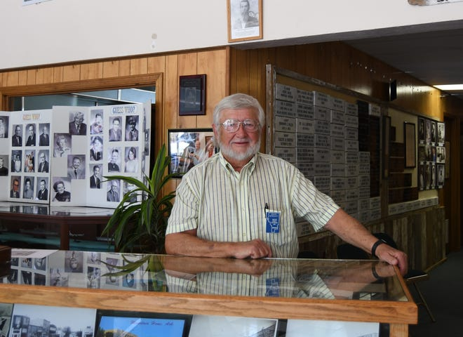 Baxter County Historical Society President David Benedict stands in the lobby of the Baxter County Heritage Center on June 26. The Society recently received a $50,000 donation from former Norfork resident Wanda Finley Roe to pay off the organization's mortgage on the building.