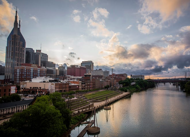 The Cumberland River: The Nashville skyline frames the Cumberland River that runs between downtown and East Nashville.