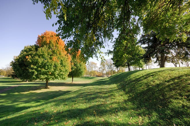 Observatory Mound at the Octagon Earthworks in Newark during an open house on Oct. 17, 2010.  (Photo by Timothy E. Black)