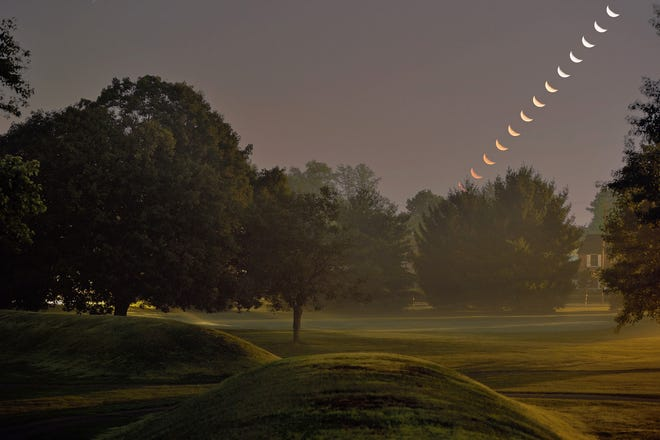 Moonrise above the south wall at the Octagon Earthworks in Newark, Ohio, early Monday, Sept. 7, 2015. Moon images taken at three-minute intervals. (Photo by Timothy E. Black)