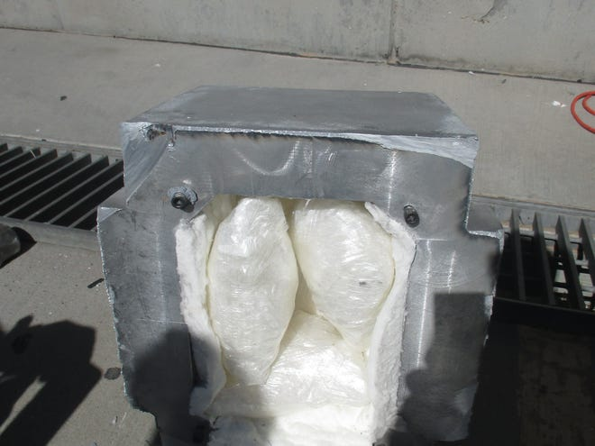 During a multi-layered inspection, Customs officers working the Santa Teresa port uncovered 26.46 pounds of methamphetamine hidden in aluminum containers.
