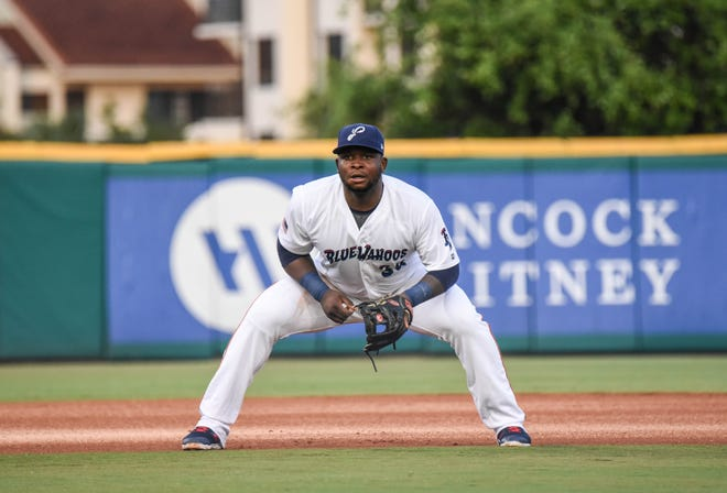 Minnesota Twins infielder Miguel Sano  features in for the Pensacola Blue Wahoos in an undated photograph.