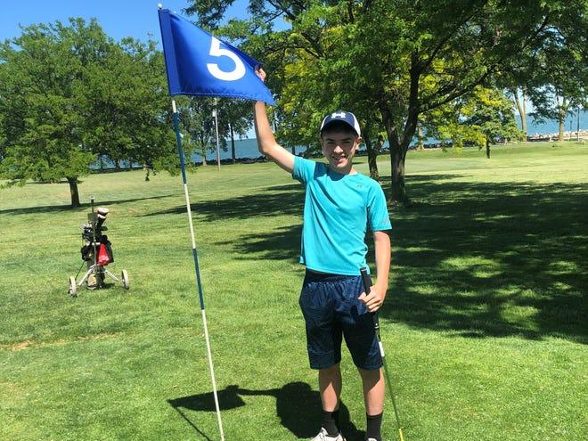 Mount Vernon's Josiah Ernst, 14, aced No. 5 at Bay Point.