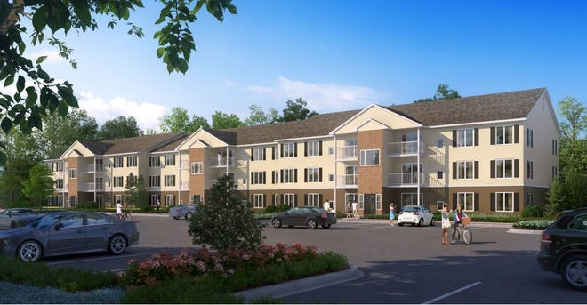 The exterior rendering of an apartment building that Fort Gratiot Place Apartments, LLC, has preliminary plans to develop at 2300 Krafft Road in Fort Gratiot Township.
