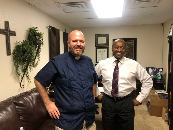 John Pope, Pastor of Galilee Missionary Baptist Church in San Angelo and Tim Davenport-Herbst, Pastor of St. Paul Presbyterian Church in San Angelo.