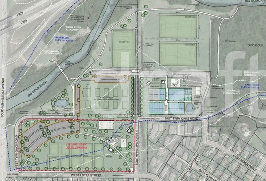 Engineering designs show what Tomar Park will look like after a 12-court tennis complex is constructed. Identified in red is the area where homes in the Rose-Lotta neighborhood are now. The city plans to incorporate that land into the Park in 10 to 15 years.