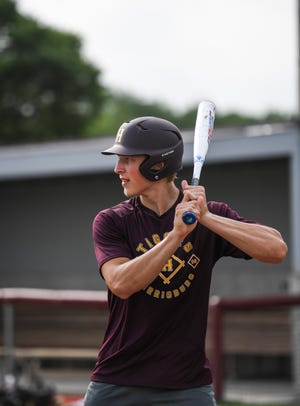 Harrisburg Legion pitcher Chase Mason prepares to bunt the ball during practice on Tuesday, June 30, 2020 in Harrisburg, S.D.