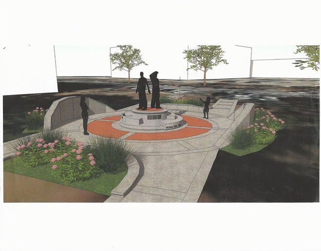 This is an artist's rendering of the monument to county first responders planned at the new Wichita County law enforcement center under construction.