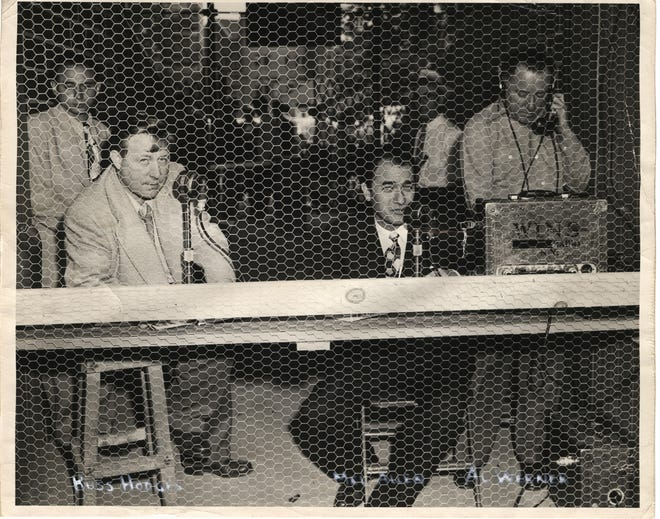Mel Allen, center, and Russ Hodges, front left, called New York Yankees games together on WINS radio from 1946-48. Al Werner, far right, was their engineer. Larry Allen, top left, was their eyes and ears.