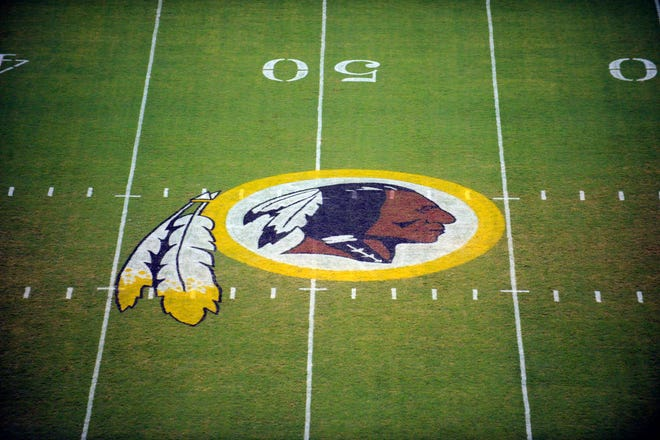This was the logo on Washington's field before the team's name was changed from Redskins.
