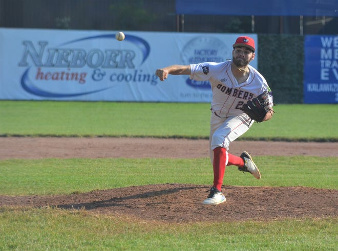 Battle Creek Bombers starting pitcher Pablo Arevalo throws home during the season opener on Thursday in Northwoods League action at Kalamazoo's Homer Stryker Field.