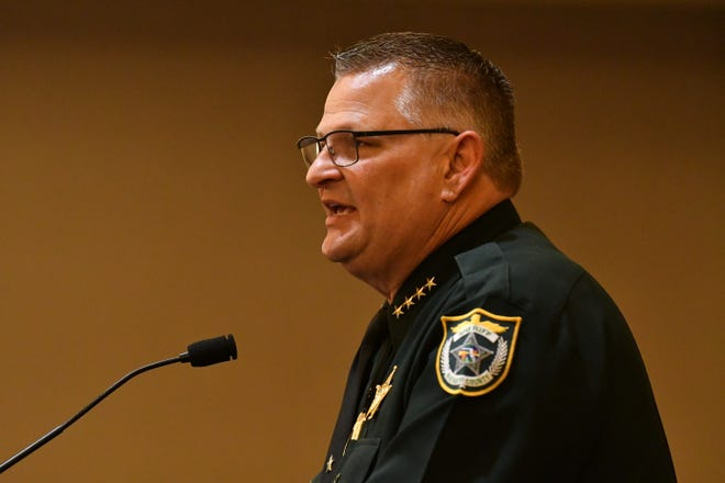 Sheriff Wayne Ivey speaks to the audience at the Space Coast Republicans 2020 Hob Nob was held at the Hilton Rialto earlier this year.