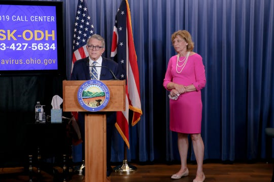 Ohio. Gov. Mike DeWine and First Lady Fran DeWine at a coronavirus briefing on June 23, 2020.