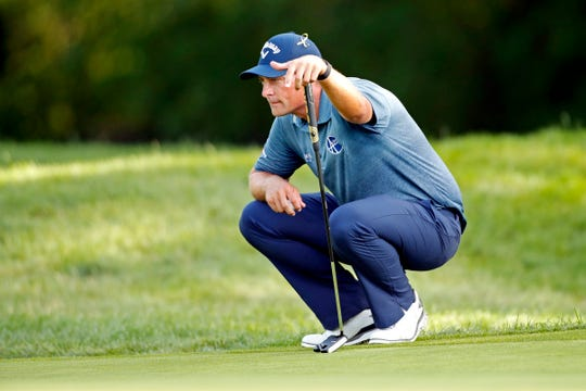 Brian Stuard lines up his putt on the ninth green during the second round of the Rocket Mortgage Classic at Detroit Golf Club on Friday, July, 3, 2020.
