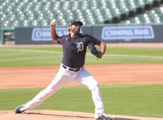 The Detroit Tigers trained at Comerica Park on Friday July 3, 2020.  Pitcher Michael Fulmer throws from the hill as the team prepares for the shortened 2020 season.