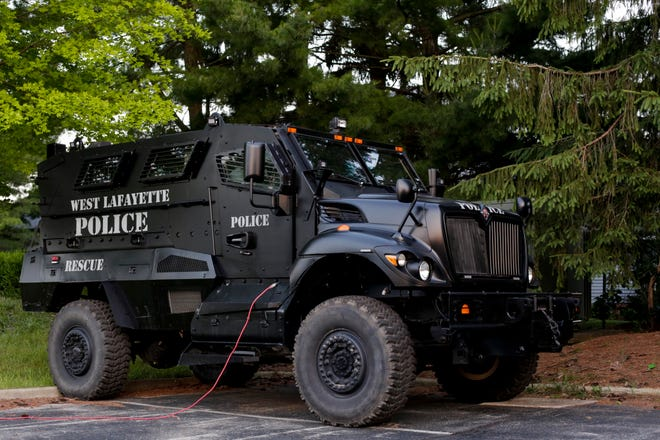 The West Lafayette Police Department's mine resistant ambush protected vehicle, known as an MRAP, sits parked in the department's lot, Thursday, July 2, 2020, in West Lafayette. The MRAP is a surplus U.S. military vehicle acquired in 2014 by the department.