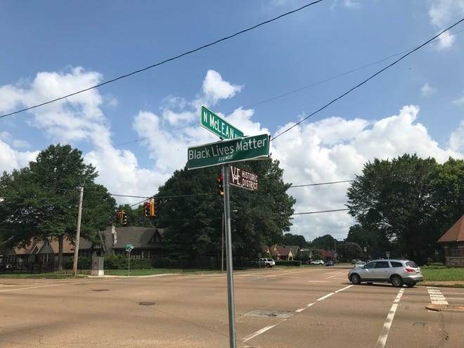 """""""Black Lives Matter Avenue"""" signs covered """"Jackson Avenue"""" signage on at least four intersections in Vollintine-Evergreen Friday morning."""