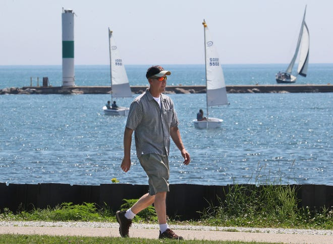 Warm and sunny with a nice breeze made it pleasant to sail a boat or just take a walk this week along the lakefront path through Milwaukee's Veterans Park. High temperatures in the metro Milwaukee area, away from the lakefront, are forecast around 90 on Saturday and Sunday.