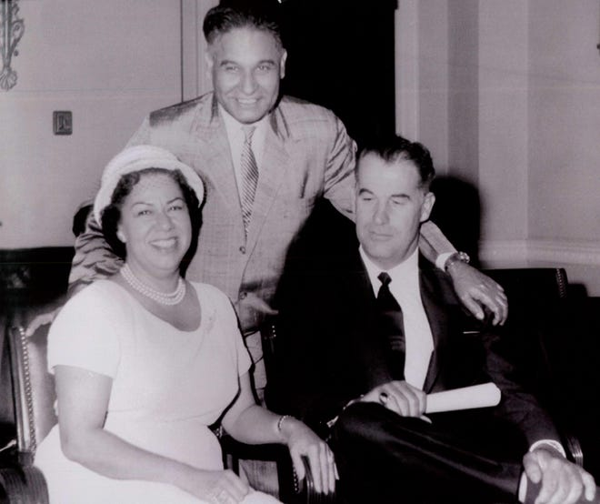 Agua Caliente Tribal Chairwoman Vyola Ortner visits Rep. D.S. Saund (D-Riverside) on Capitol Hill in Washington, D.C., in the late 1950s with the mayor of Palm Springs, Frank Bogert.