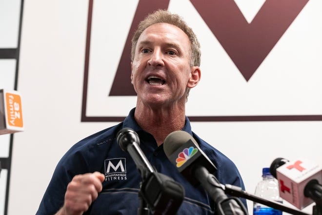 Tom Hatten, CEO and Founder of Mountainside Fitness, talks about his battle with Gov. Doug Ducey over closure of gyms at a press conference in Scottsdale on July 3, 2020.