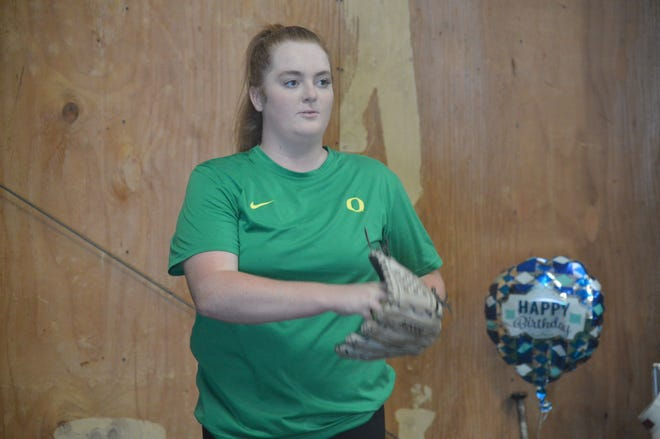 Former Central Valley High School pitcher Raegan Breedlove, seen training at a facility in Anderson on July 2, 2020, succeeded after a tight battle with Fresno State on Sunday, Feb. 21, 2021.