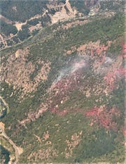This helicopter photo shows the Flat Fire burning in Trinity County near Burnt Ranch on Thursday, July 2, 2020.