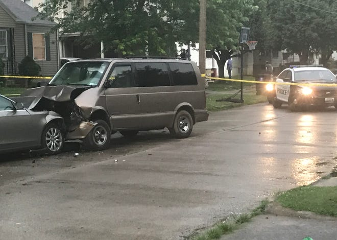 The driver of a passenger car struck a parked van Thursday night after some type of incident farther west on Pacific Street. The driver was taken to the hospital with life-threatening injuries.