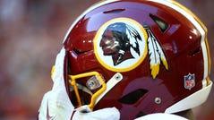 Detailed view of a Washington Redskins logo on a helmet against the Arizona Cardinals at University of Phoenix Stadium.