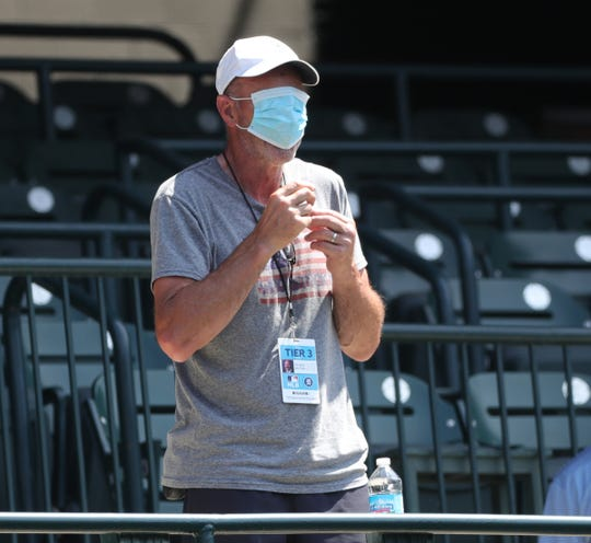 More than safe: Kirk Gibson jokes around at Detroit Tigers practice at Comerica Park on Saturday, July 4, 2020.