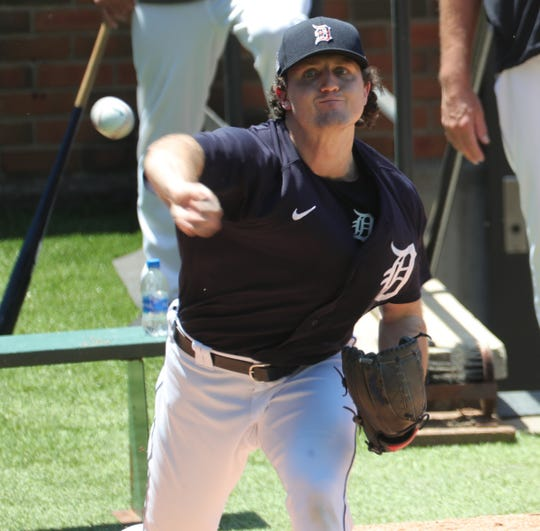The Detroit Tigers held a workout at Comerica Park on Saturday, July 4, 2020. Pitching prospect Casey Mize threw a bullpen session under the watchful eyes of the coaching staff.