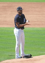 Detroit Tigers' Michael Fulmer throws from the mound at Comerica Park, July 3, 2020.