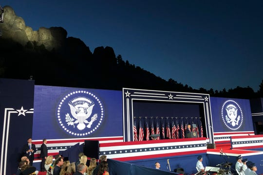 President Donald Trump speaks at Mount Rushmore National Monument Friday in Keystone, S.D.